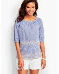 Talbots - Blue Embroidered-cutout Popover - Chambray - Lyst