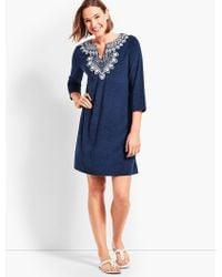 Talbots - Blue Embroidered Terry Tunic - Lyst