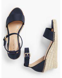 Talbots - Blue Lyndsay Espadrille Wedges - Vachetta Leather Fashion Colors - Lyst