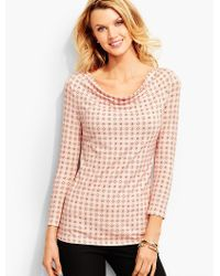 Talbots - Pink Platinum Jersey Drapeneck Top-dots-and-o's - Lyst