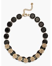Talbots - Black Layered Flowers And Stones Linear Necklace - Lyst
