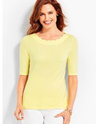 18a0c5b2f69f73 Talbots Elbow-length-sleeve Pima Scallop-neck Top in Yellow - Lyst