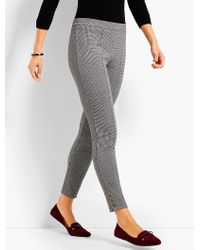 Talbots - Gray Mini Check Button-ankle Legging - Lyst