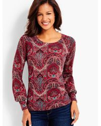 Talbots - Red Merino Wool Sweater - Opulent Paisley - Lyst