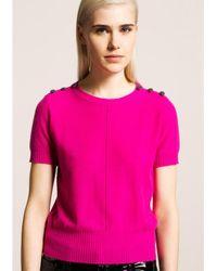 Tara Jarmon | Pink Fuchsia Jewel Button Knit Top | Lyst