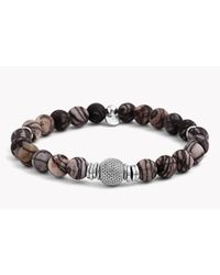 Tateossian - Brown Stonehenge Silver Bracelet - Lyst