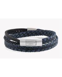 Tateossian - Blue Cobra Doppio Silver Bracelet In Navy for Men - Lyst