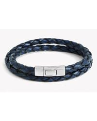 Tateossian - Double Wrap Scoubidou Bracelet In Blue Leather With Silver Click Clasp for Men - Lyst