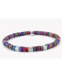 Tateossian | Multicolor Seychelles Beaded Bracelet In Multicoloured Shells With Silver Cubes for Men | Lyst