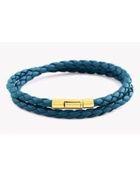 Tateossian - Blue Pop Double Wrap Bracelet In Teal Leather With 18k Rose Gold Clasp - Lyst