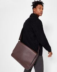 Ted Baker - Brown Embossed Messenger Bag for Men - Lyst