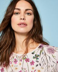 Ted Baker - Pink Unity Floral Fitted T-shirt - Lyst