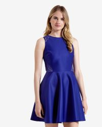 Ted Baker | Blue Lace Detail Skater Dress | Lyst