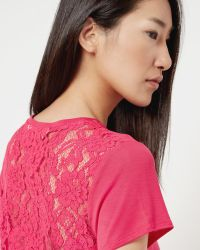 Ted Baker | Purple Lace Back T-shirt | Lyst
