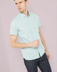 Ted Baker | Green Short Sleeved Textured Linen Shirt for Men | Lyst