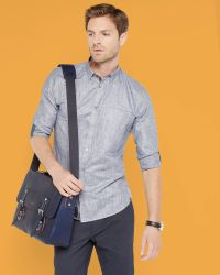 Ted Baker | Gray Micro Checked Linen Shirt for Men | Lyst