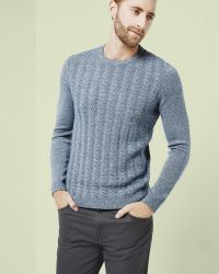 Ted Baker | Blue Cable Knit Wool Jumper for Men | Lyst