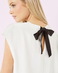 Ted Baker | White Silk Ribbon Tie Top | Lyst