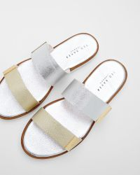 Ted Baker - Metallic Flat Leather Strap Sandals - Lyst