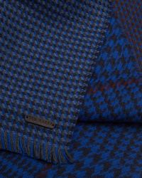 Ted Baker - Blue Herringbone Reversible Scarf for Men - Lyst