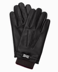 Ted Baker | Black Leather Ribbed Cuff Gloves for Men | Lyst