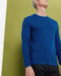 Ted Baker | Blue Textured Crew Neck Jumper for Men | Lyst