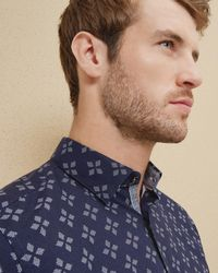 Ted Baker | Blue Flake Geo Printed Regular Fit Button-down Shirt for Men | Lyst