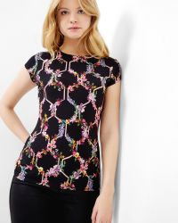 Ted Baker   Black Lost Garden Fitted T-shirt   Lyst