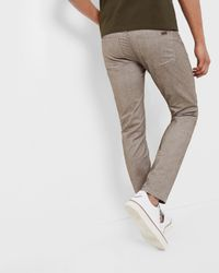 Ted Baker - Brown Slim Fit Twill Trousers for Men - Lyst