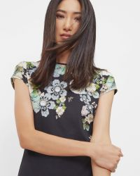 Ted Baker | Black Gem Gardens Fitted T-shirt | Lyst