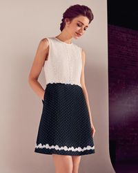 Ted Baker | Blue Floral Lace A-line Dress | Lyst