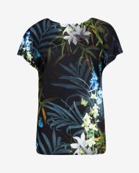 Ted Baker | Black Sazia Twilight Floral Top | Lyst