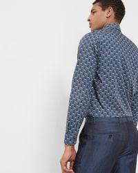 Ted Baker - Blue Shell Print Cotton Shirt for Men - Lyst
