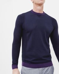 Ted Baker | Blue Textured Crew Neck Top for Men | Lyst
