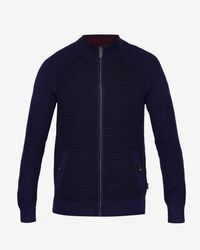 Ted Baker - Blue Textured Zip Through Jumper for Men - Lyst
