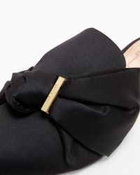 Ted Baker - Black Satin Bow Loafers - Lyst