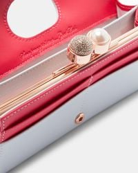 Ted Baker - Gray Crystal And Pearl Bobble Leather Matinee - Lyst