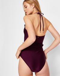 Ted Baker - Purple Ruffle Trim Swimsuit - Lyst