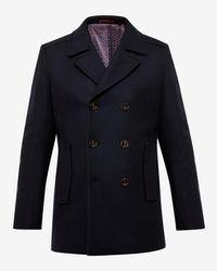 Ted Baker - Blue Wool Peacoat for Men - Lyst