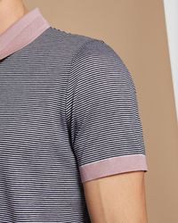 Ted Baker Blue Striped Cotton Polo Shirt for men