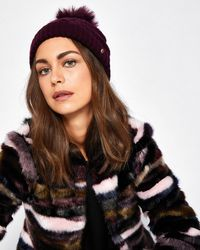Ted Baker - Multicolor Cable Knit Wool-blend Bobble Hat - Lyst