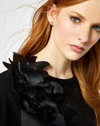 Ted Baker - Black Leather Front Flower Detail Jumper - Lyst