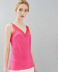Ted Baker - Pink Silk Mesh Trim Cami Top - Lyst