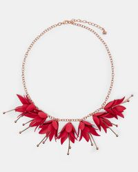 Ted Baker - Red Fuchsia Drop Necklace - Lyst