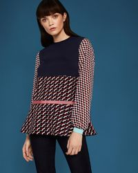 Ted Baker - Blue Woven Print Top - Lyst