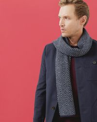 Ted Baker - Blue Herringbone Knitted Scarf for Men - Lyst