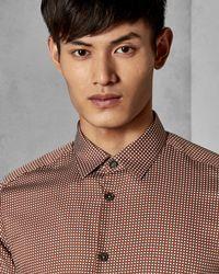 Ted Baker - Orange Cotton Geo Print Shirt for Men - Lyst