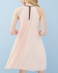 Ted Baker - Pink Bow Detail Pleated Dress - Lyst