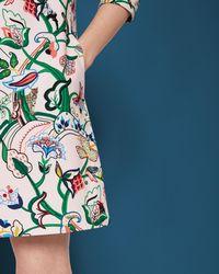 Ted Baker - Blue Printed Shift Dress - Lyst