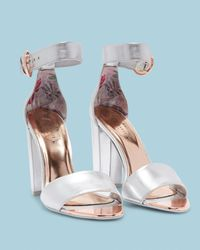 Ted Baker - Metallic Double Strap Leather Sandals - Lyst